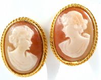 Vintage Cameo Design Clip On Earrings By Sphinx